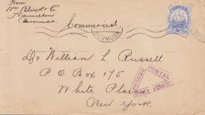 Bermuda: letter to New York, censor passed