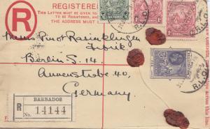 Barbados: Registered letter 1928 to Berlin