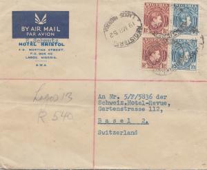 Nigeria: 1952 Air Mail Lagos to Basel - Hotel Bristol