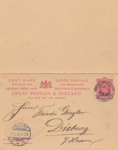 Levant: British Post office - Post card; 1906 to Germany - Dieburg