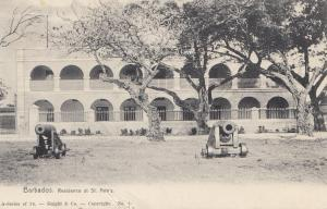 Barbados: post card Residence with canons 1908 to Freiberg