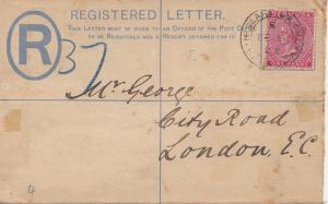 Bermuda: Registered letter 1902 to London