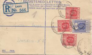 Nigeria: Registered letter Lagos 1931 to Dresden