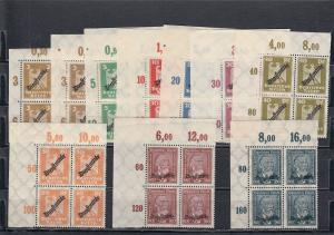 Deutsches Reich Dienst: MiNr. 105-113, postfrisch Platte, Viererblock Eckrand
