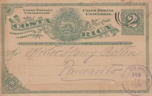 Costa Rica: 1904: post card San Jose to Paruarito