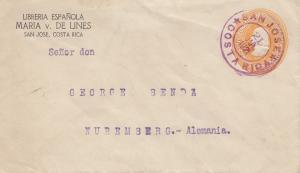 Costa Rica: 1921: San Jose to Nürnberg
