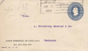 Costa Rica: 1909: San Jose Banco Comercial to Hamburg
