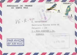 Costa Rica: 1985: Air Mail Ambassade de France to München - BMW