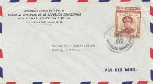 Domenikanische Republik 1960: Banco Ciudad Trujillo to Basel; inverse date !!!