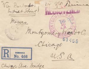 Domenikanische Republik: 1915: Registered Dominica to USA via Barbados