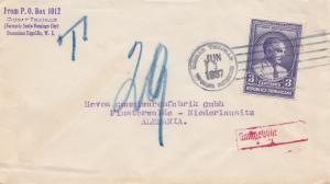 Domenikanische Republik: 1937: Santo Domingo City to Finsterwalde, Taxe