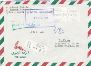 French colonies: Algerie 1983 par avion registered Kouba to BMW München