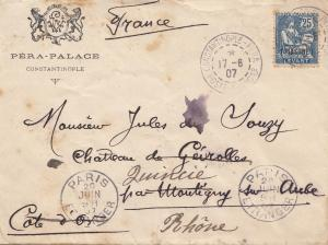 Constantinople: 1907 letter to Paris, forwarded Quincie