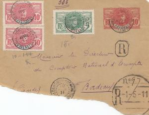 French colonies: Dahomey 1911: letter to Boreaux, interessting R-cancel