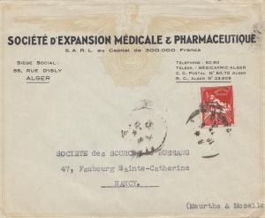 French colonies: Algerie: letter Societe Medicale/Pharmacie to Nancy