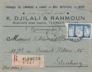 French colonies Algerie 1930: Registered tlemcen to Strasbourg
