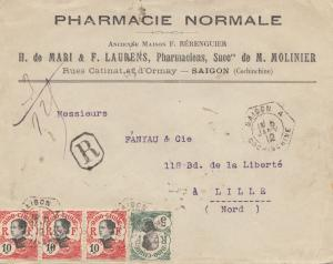 French colonies Indo-chine 1912, registered Saigon to Lille