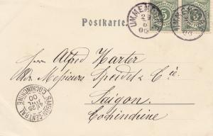 French colonies Ulmendorf post card Biberach Germany to Saigon 1900: Cochinchine