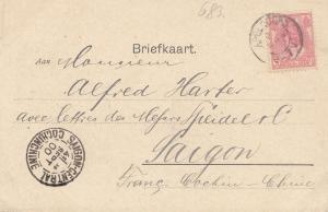 French colonies Briefkaart 1900 Apeldorn to Saigon Cochinchine