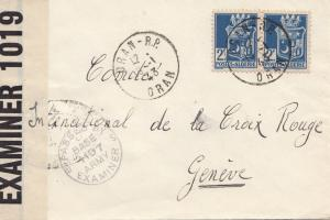French colonies Algerie 1943 - censor Oran to Geneve - Croix Rouge - censor
