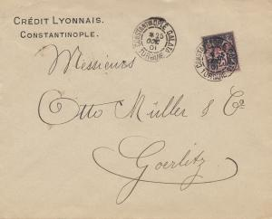 French colonies: Turquie 1901 Constantinople to Görlitz, Perfin