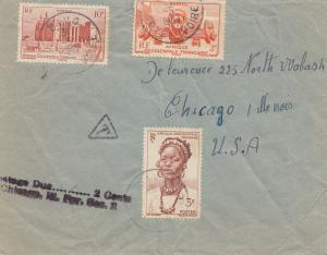 French colonies: Ivory coast 1957 Divo to Chicago/USA, Taxe: Postage due