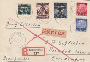GG: #38 MiF, Einschreiben Tschenstochau mit Einlieferungsschein nach Reinbek