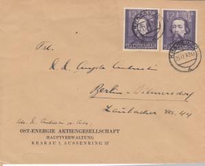 GG: Brief mit MeF Bedeutende Deutsche, Krakau Ost-Energie nach Berlin