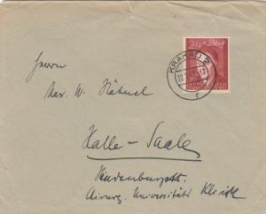 GG: Brief mit EF Bedeutende Deutsche, portogerecht Krakau nach Halle