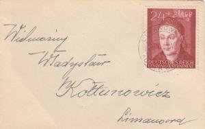 GG: Brief mit EF Bedeutende Deutsche, portogerecht Limanowa-Kattowitz