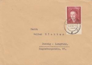 GG: Brief mit EF Bedeutende Deutsche, portogerecht nach Danzig-Langfuhr