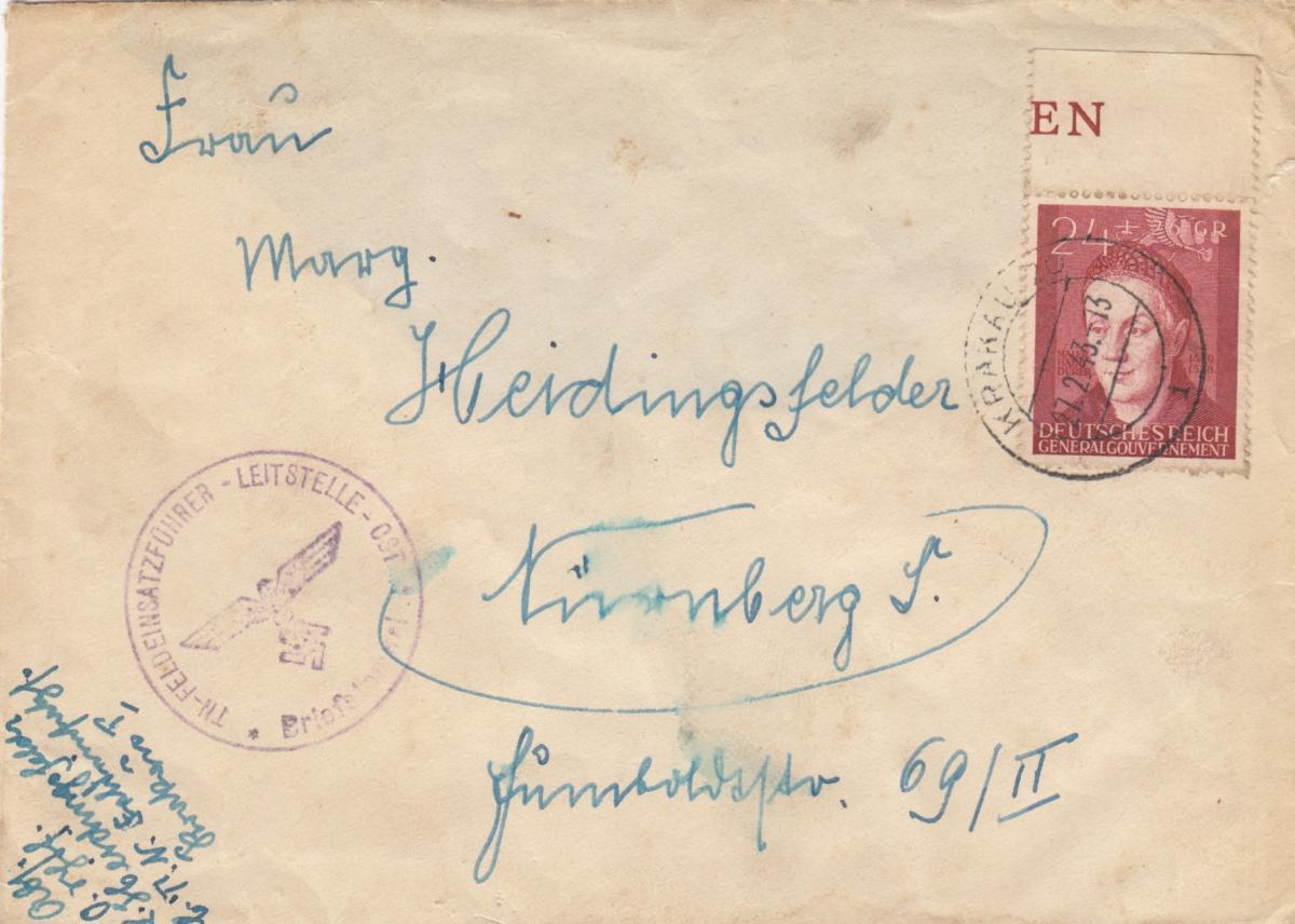 GG: Brief mit EF Bedeutende Deutsche, portogerecht Feldeinsatzleitstelle Krakau 0