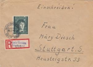 GG: EF, Bedeutende Deutsche, Einschreiben Skarzysko-Kamienna nach Stuttgart
