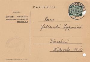 GG: Dienst: portogerechte EF auf Postkarte Justizkasse Warschau