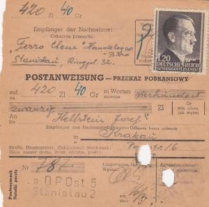 GG Postanweisung Stanislau-Krakau, DP Ost 5, EF 87A, portogerecht