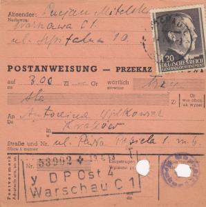 GG Postanweisung Warschau-Krakau, DP Ost 4, EF portogerecht