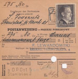 GG Postanweisung Stanislau-Krakau, DP Ost 5, EF, portogerecht