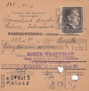 GG Postanweisung Kalusz-Krakau, DP Ost 5, EF, portogerecht