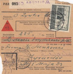 GG: Inlandspaketkarte Warschau Zyrardow, Nachnahme, MiNr. 86B MiF