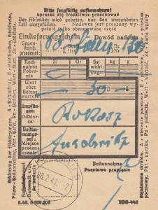 GG: Judaika: Einlieferungsschein Krakau nach Auschwitz 8.2.41
