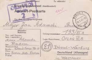GG: 4.1.1945 Radom an OFLAG VIB, Kriegsgefangenenpost