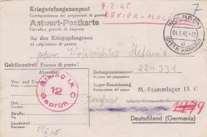 GG: 4.1.1945 Wolbrom an Stalag IX C, Kriegsgefangenenpost