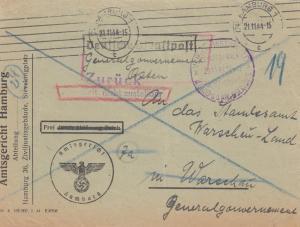 GG: 21.11.44 Amtsgericht Hamburg nach Warschau - Zurück - nicht zustellbar