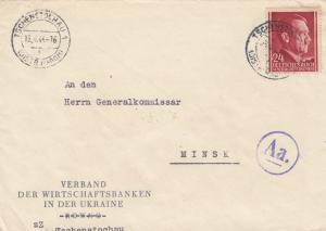 GG Ostland: Tschenstochau nach Minsk, Inlandsfrankatur, portogerecht, Zensur