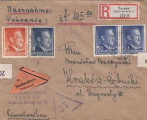 GG Nachnahme R-Brief, portogerecht von Tarnow nach Krakau