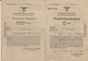 GG Formular Rundfunkgenehmigung Jozefow b. Blonie, ohne DPO Nr. SELTEN