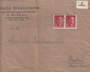 GG Deutsche Krankenkasse für das GG,Krakau, Großbrief mit MeF, portogerecht