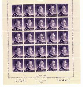 GG MiNr. 101 im Bogen, postfrisch, OHNE SEKTORENNUMMER, SELTEN