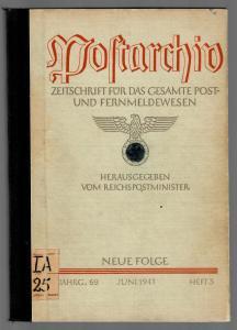 Postarchiv: Band 69, 1941, Heft 3, gebunden, Themen siehe Beschreibung