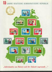 DDR: 15 Jahre DDR, Bogen ungebraucht
